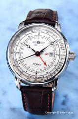 ツェッペリン 腕時計 メンズ 7646-1 100周年記念モデル パルスメーター GMT シルバー/ダークブラウンレザー
