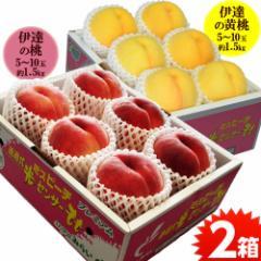 桃 もも モモ 食べ比べ 送料無料 福島 伊達の桃&黄桃 2箱セット 各約1.5キロ (1箱:5〜10玉)
