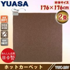 ユアサプライムス 日本製 ホットカーペット 2畳 YWC-20Y(B) ブラウン 本体 176×176cm ダニ退治 暖房面積切り替え 左右全面 国産 YUASA