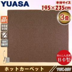 ユアサプライムス 日本製 ホットカーペット 3畳 YWC-30Y(B) ブラウン 本体 195×235cm ダニ退治 暖房面積切り替え 左右全面 国産 YUASA
