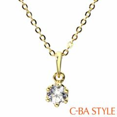 C-BA STYLE (シーバスタイル) ~First ファースト~ ネックレス レディース 一粒 CZ ゴールド シルバー カラー メール便