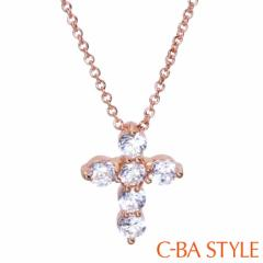 C-BA STYLE (シーバスタイル) ~First ファースト~ ネックレス レディース 十字架 (クロス) CZ ピンクゴールド カラー メール便