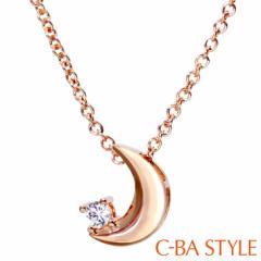C-BA STYLE (シーバスタイル) ~First ファースト~ ネックレス レディース ムーン (月) CZ ピンクゴールド カラー メール便