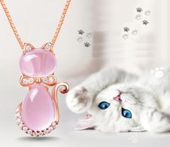 ネックレス ペンダント チェーン ストーン 猫 キャット かわいい キュート おしゃれ ピンク レディース