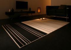 【代引不可】 国産 モダンデザインラグ 190×190cm 2色対応 お部屋をお洒落に演出するデザインラ