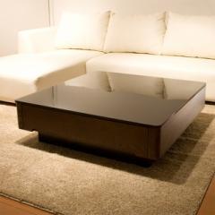 【代引不可】 リビングテーブル 高級材とブラックガラスの競演 テーブル リビング ローテーブ