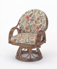 回転座椅子ミドルハイタイプ S-473 ブラウン 籐 籐家具 座椅子 椅子 イス 回転式 和風リビングル