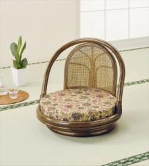 回転座椅子ロータイプ S-511B ブラウン 籐 籐家具 座椅子 椅子 イス 回転式 和風リビングルーム