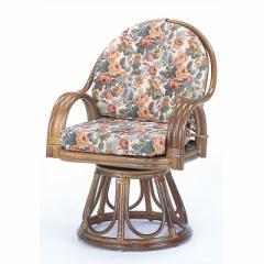 回転座椅子ハイタイプ S-584B ブラウン 籐 籐家具 座椅子 椅子 イス 回転式 和風リビングルーム