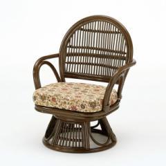 回転座椅子ミドルタイプ S-882B ブラウン 籐 籐家具 座椅子 椅子 イス 回転式 和風リビングルー