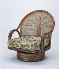 ワイド回転座椅子ミドルタイプ S-3004B ブラウン 籐 籐家具 座椅子 椅子 イス 回転式 和風リビン