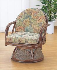 ラウンドチェアー ハイタイプ TK-881 ブラウン 籐 籐家具 座椅子 椅子 イス 回転式 アジアンリビ