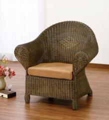 アームチェアー Y-123B ブラウン 籐 籐家具 座椅子 椅子 イス アジアンリビングルーム籐 ラタン