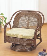 籐ワイドラウンドチェアー Y-502B ブラウン 籐 籐家具 座椅子 椅子 イス 回転式 アジアンリビン