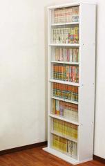 【代引不可】 ガラス付書棚 ホワイト シェルフ リビング 収納 棚 飾り棚 本棚 シンプル リビン