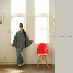 袖付きケープマント 和装コート 黒×白×シルバー ツイード 和洋兼用 ケープコート ウールコート 京都きもの町オリジナル