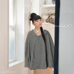 ケープ 和装コート「黒×白色 千鳥格子」 ポンチョ ウールケープ キモノカフェ kimono cafe[送料無料]