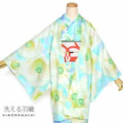 洗える 羽織単品「グリーン 椿」アンティーク調 京都きもの町オリジナル S F TL LL レトロモダン