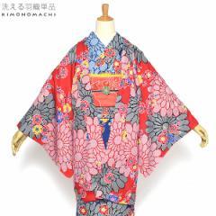 京都きもの町オリジナル 羽織単品「赤色菊と梅」レッド 花柄 S、F、TL、LL 女性羽織 ポリエステル 洗える羽織