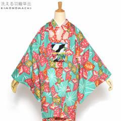 京都きもの町オリジナル 羽織単品「ブルーグリーン麻の葉」グリーン 花柄 S、F、TL、LL 女性羽織 ポリエステル 洗える羽