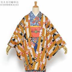 京都きもの町オリジナル 羽織単品「金茶色変わり縞」ブラック 縞 S、F、TL、LL 女性羽織 ポリエステル 洗える羽織