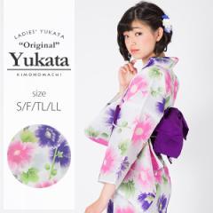 京都きもの町オリジナル 浴衣単品「パープルタチアオイ」レトロ 女性浴衣 綿浴衣 花火大会、夏祭り、夏フェスに