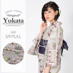 京都きもの町オリジナル 浴衣単品「セピアタウン」レトロ 女性浴衣 綿浴衣 花火大会、夏祭り、夏フェスに