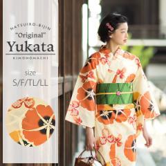 京都きもの町オリジナル 浴衣単品「橙色 朝顔」綿 S、F、TL、LL 女性浴衣