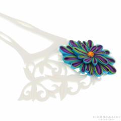 銀杏型 かんざし「ターコイズ×青紫のつまみのお花、白色透かし彫り台」 簪 髪飾り ガラス玉簪 浴衣髪飾り