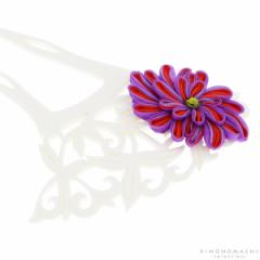 銀杏型 かんざし「浅紫×赤色のつまみのお花、白色透かし彫り台」 簪 髪飾り ガラス玉簪 浴衣髪飾り