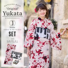 【20%OFF価格】京都きもの町オリジナル 浴衣セット「赤マーガレット」 女性浴衣3点セット 綿浴衣 浴衣、浴衣帯、下駄