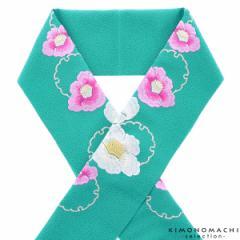 刺繍 半衿「ターコイズ 雪輪に椿」 刺繍半襟 振袖衿 洒落衿