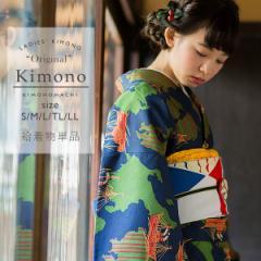 洗える着物 袷着物単品  「ネイビー 日本を船旅」 レディース キモノ サイズ S M L TL LL【メール便不可】