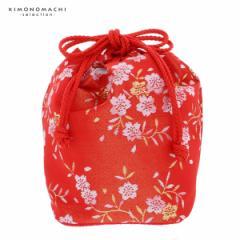 (七五三◆最大20%OFF 11/21 17:59迄)七五三 巾着単品「朱赤×金色 桜」 桃の節句、ひな祭り 巾着バッグ 金襴