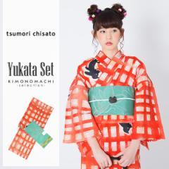 ツモリチサト 浴衣セット「赤格子 猫」浴衣2点セット tsumori chisato 綿浴衣 女性浴衣セット [送料無料]