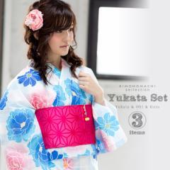 女性 浴衣セット「ブルー 縞に花」 浴衣3点セット 女性浴衣セット レディース