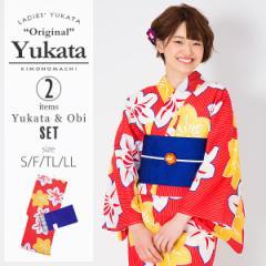 KIMONOMACHI 浴衣セット「赤色 鉄線」S,F(フリー),TL,LL 女性浴衣セット