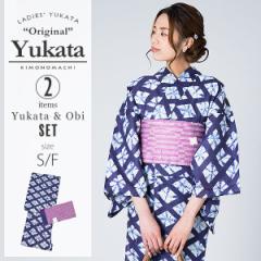 【50%OFF】KIMONOMACHI 浴衣セット「紺色 絞り風菱模様」S,F(フリー) 女性浴衣セット