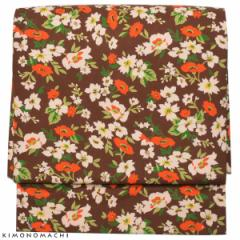 お太鼓 作り帯「ブラウン フラワー」木綿名古屋帯 コットン 軽装帯 名古屋帯