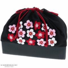 刺繍 巾着 袴巾着「黒色 桜刺繍」卒業式 修了式の袴に