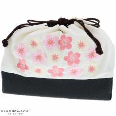 刺繍 巾着 袴巾着「白色 桜刺繍」卒業式 修了式の袴に