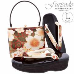 振袖 草履バッグセット Lサイズ EVAソール 「黒色 薔薇と桜」