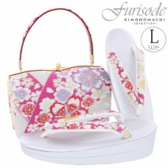 振袖 草履バッグセット Lサイズ 二枚芯 「シルバー 桜」