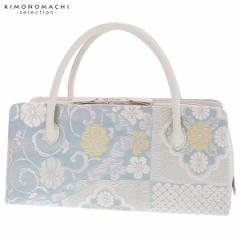 礼装 和装バッグ 利休バッグ 「浅縹色×シルバー 更紗」 日本製