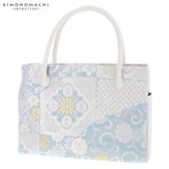 礼装 和装バッグ ダブルファスナー「浅縹色×シルバー 更紗」 日本製