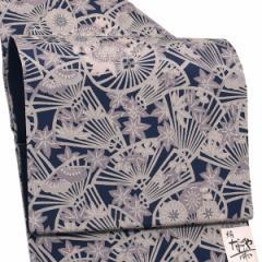 ちりめん 正絹名古屋帯「濃藍色 番傘」お仕立て上がり名古屋帯 全通柄 洒落帯 九寸名古屋帯