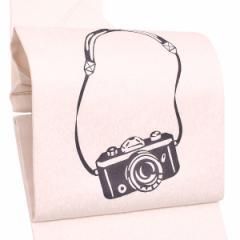 紋意匠 正絹名古屋帯「白色 カメラ」お仕立て上がり名古屋帯 お太鼓柄 洒落帯 九寸名古屋帯