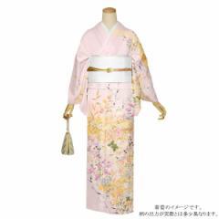 訪問着 お仕立て上がり 正絹着物単品「ピンク 豪華な花模様 金彩の雲取文様 吉祥文様」