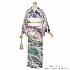 訪問着 お仕立て上がり 正絹着物単品「菫色・深紫のパープルとグレーの流水文様と花 おぼろ染め」