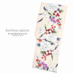bonheur saisons ブランド浴衣単品 レディース 浴衣 「麻混 クリーム 牡丹(9EX-87)」 ボヌールセゾン 大人浴衣 Fサイズ 女性用 女性浴
